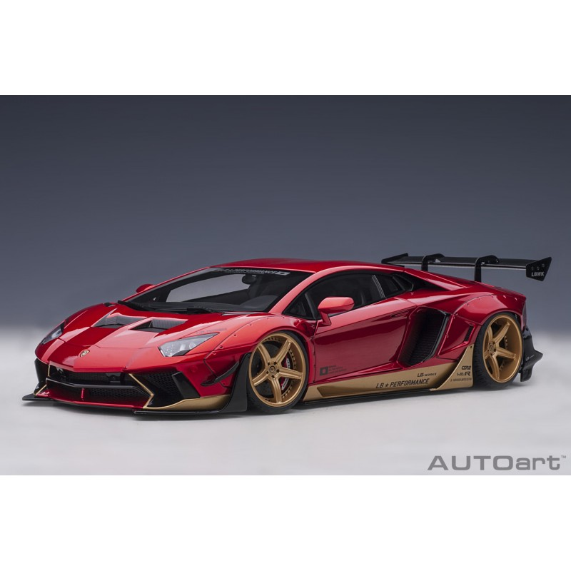 Liberty Walk LB-Works Lamborghini Aventador Limited Edition (Hyper Red with Gold accents) Autoart 79182